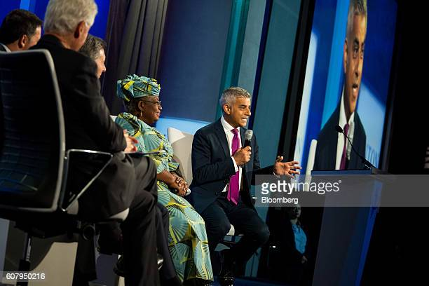 Sadiq Khan mayor of London right speaks in a panel discussion during the annual meeting of the Clinton Global Initiative in New York US on Monday...