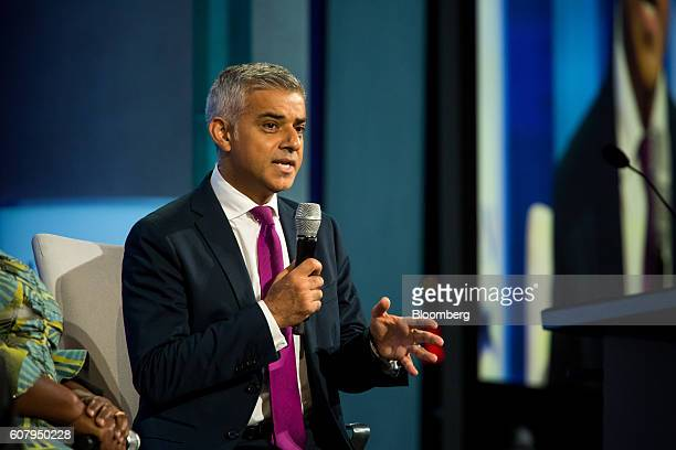 Sadiq Khan mayor of London speaks in a panel discussion during the annual meeting of the Clinton Global Initiative in New York US on Monday Sept 19...