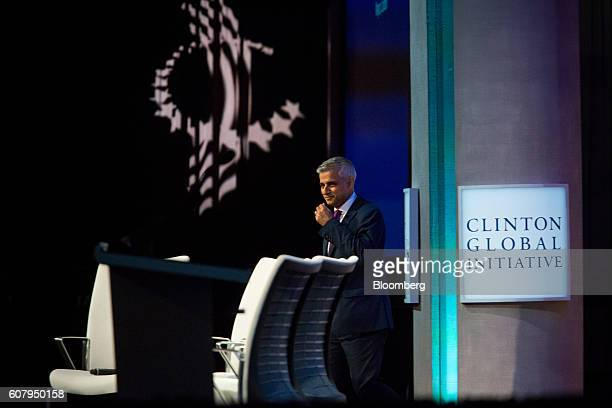 Sadiq Khan Mayor of London walks on stage for a panel discussion during the annual meeting of the Clinton Global Initiative in New York US on Monday...