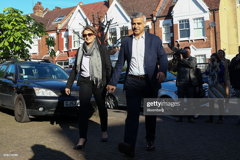 <a gi-track='captionPersonalityLinkClicked' href=/galleries/search?phrase=Sadiq+Khan&family=editorial&specificpeople=3431876 ng-click='$event.stopPropagation()'>Sadiq Khan</a>, the Labour Party candidate for London mayor, and his wife Saadiya Khan, arrive to vote in the Mayor of London and London Assembly elections in London, U.K., on Thursday, May 5, 2016. Britain goes to the polls Thursday in a series of local and legislative elections that will deliver a new mayor for London, continued nationalist government in Scotland and the voters' first verdict on Jeremy Corbyn's leadership of the opposition Labour Party. Photographer: Simon Dawson/Bloomberg via Getty Images