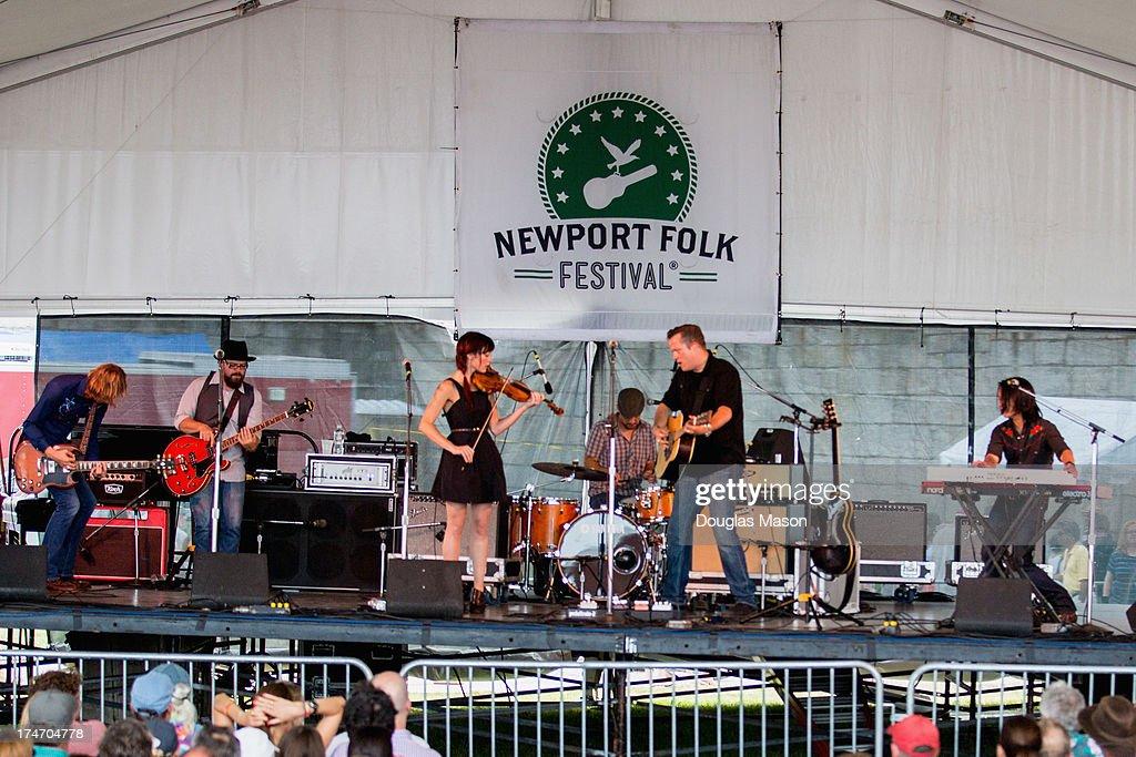Sadler Vaden, Jimbo Heart, Amanda Shires, Chad Gambell Jason Isbell and Derry Deborja perform during the 2013 Newport Folk Festival at Fort Adams State Park on July 27, 2013 in Newport, Rhode Island.