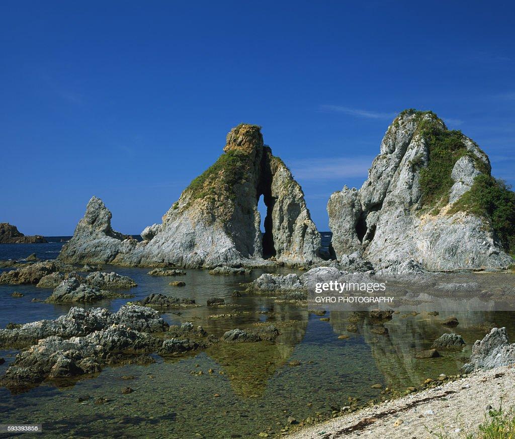 Sado Husband-and-wife rock, Shichiura seashore, Niigata Prefecture, Japan