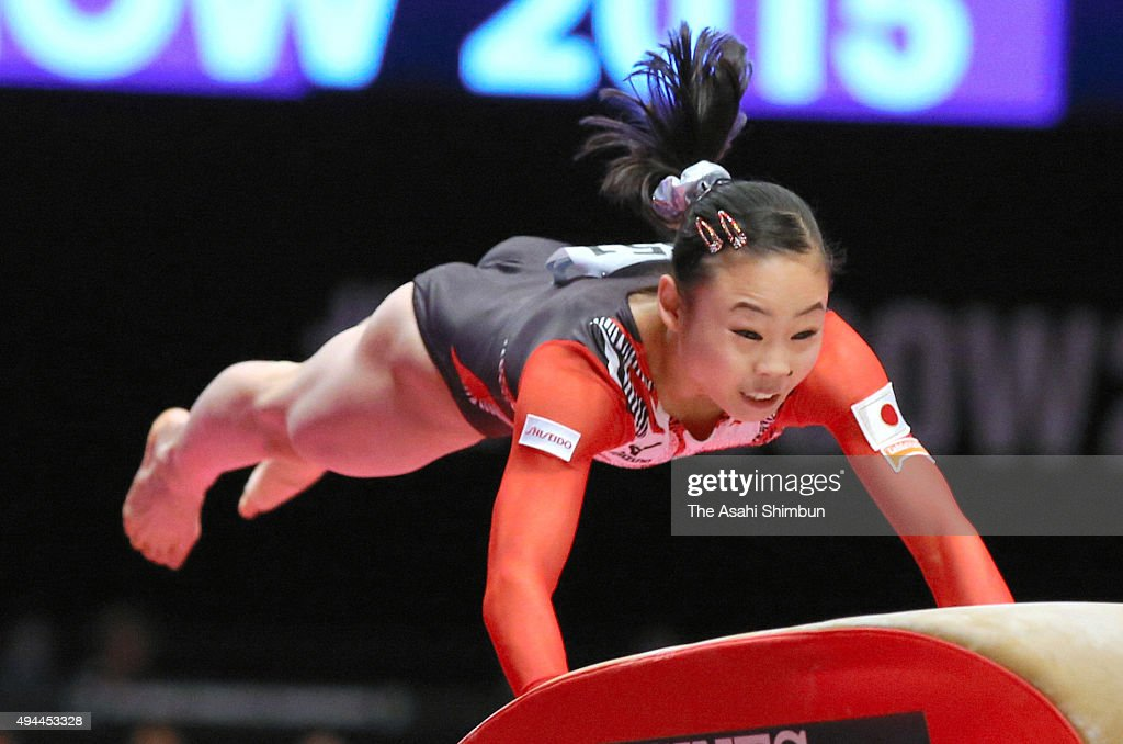Sae Miyakawa of Japan competes in the Horse Vault during day one of the 2015 World Artistic Gymnastics Championships at The SSE Hydro on October 23...