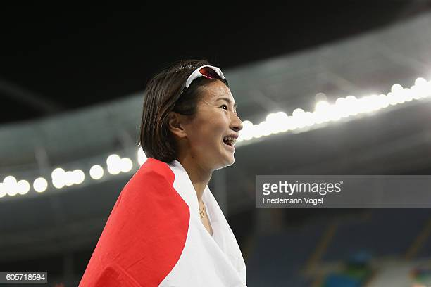 Sae Tsuji of Japan celebrates winning the bronze medal in the Women's 400m T47 final on day 7 of the Rio 2016 Paralympic Games at the Olympic Stadium...