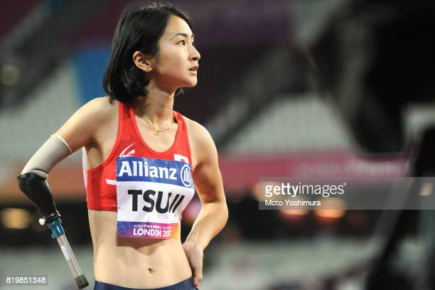 Sae Tsuji of Japan reacts after competing in the Women's 100m T47 during day five of the IPC World ParaAthletics Championships 2017 at London Stadium...