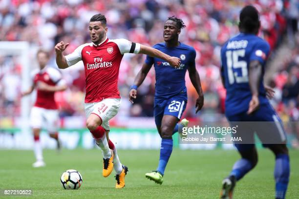 Saed Kolasinac of Arsenal and Michy Batshuayi of Chelsea during the The FA Community Shield between Chelsea and Arsenal at Wembley Stadium on August...