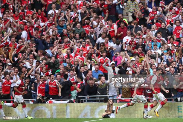 Saed Kolasinac of Arsenal celebrates after scoring a goal to make it 11 during the The FA Community Shield between Chelsea and Arsenal at Wembley...