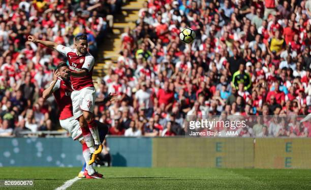 Saed Kolasinac of Arsenal scores a goal to make it 11 during the The FA Community Shield between Chelsea and Arsenal at Wembley Stadium on August 6...