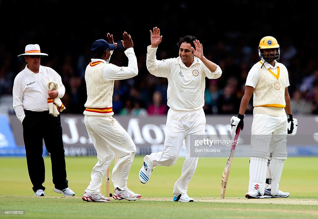 Saeed Ajmal of MCC celebrates dismissing Tamim Iqbal of Rest of the World during the MCC and Rest of the World match at Lord's Cricket Ground on July 5, 2014 in London, England.