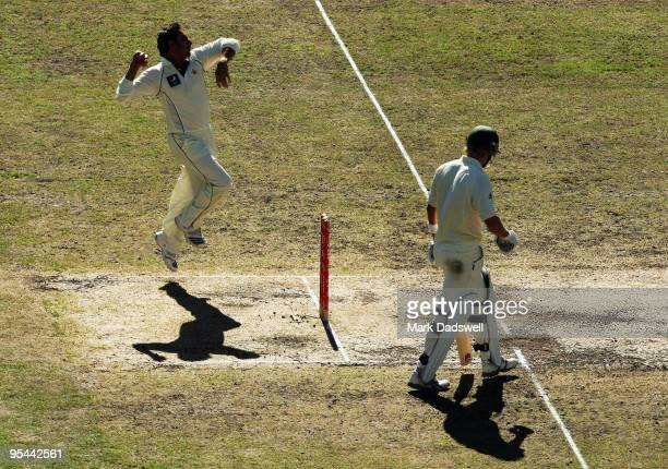 Saeed Ajmal of Pakistan bowls during day three of the First Test match between Australia and Pakistan at Melbourne Cricket Ground on December 28 2009...