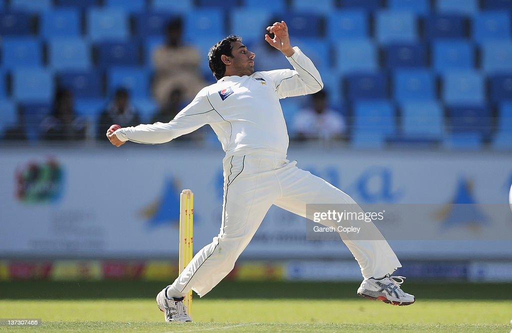 Saeed Ajmal of Pakistan bowls during the first Test match between Pakistan and England at The Dubai International Cricket Stadium on January 19, 2012 in Dubai, United Arab Emirates.