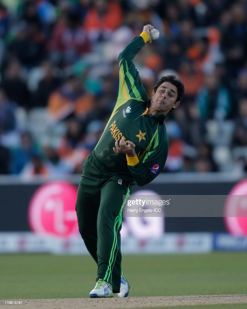 Saeed Ajmal of Pakistan bowls during the ICC Champions Trophy group A match between India and Pakistan at Edgbaston on June 15, 2013 in Birmingham, England.