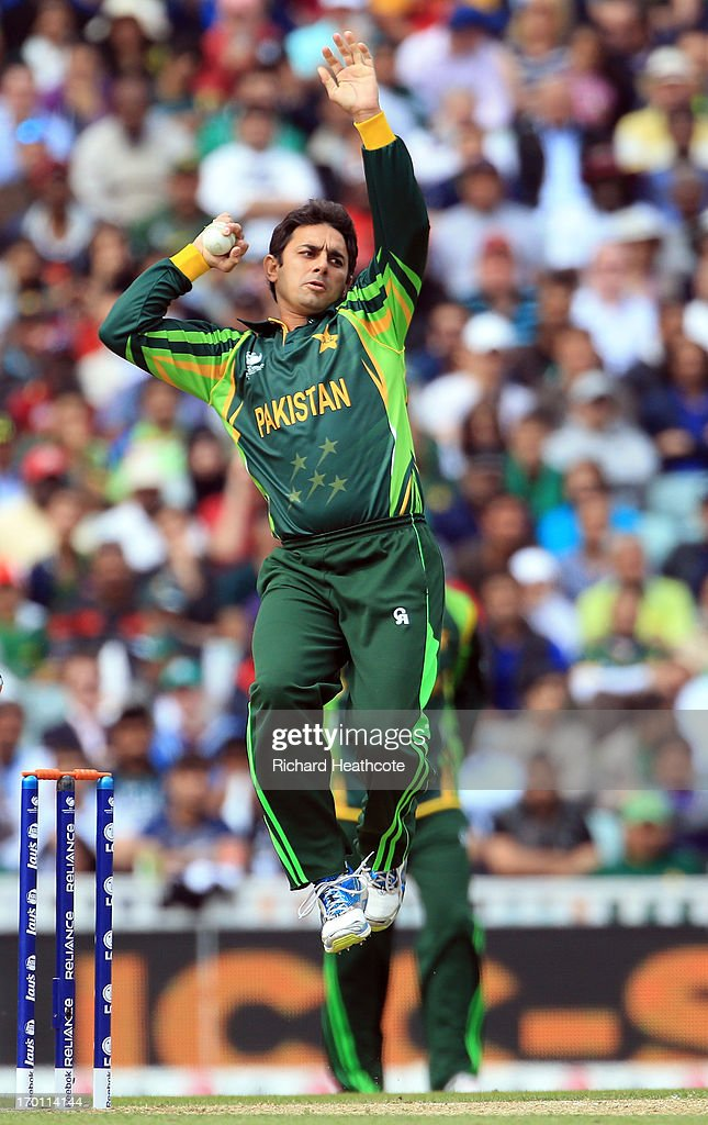 Saeed Ajmal of Pakistan bowls during the ICC Champions Trophy group B match between West Indies and Pakistan at The Oval on June 7, 2013 in London, England.