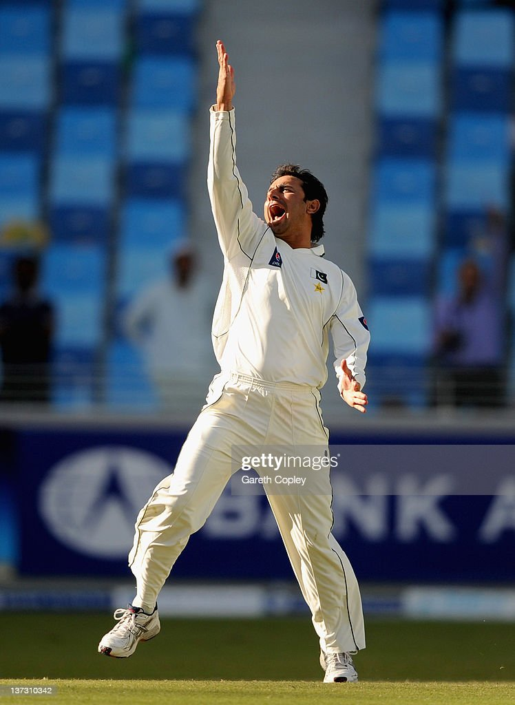 Saeed Ajmal of Pakistan celebrates dismissing Matt Prior of England during the first Test match between Pakistan and England at The Dubai International Cricket Stadium on January 19, 2012 in Dubai, United Arab Emirates.