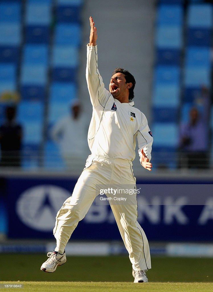 Saeed Ajmal of Pakistan celebrates dismissing Matt Prior of England during the first Test match between Pakistan and England at The Dubai International Cricket Stadium on January 19, 2012 in Dubai, United Arab Emirates.