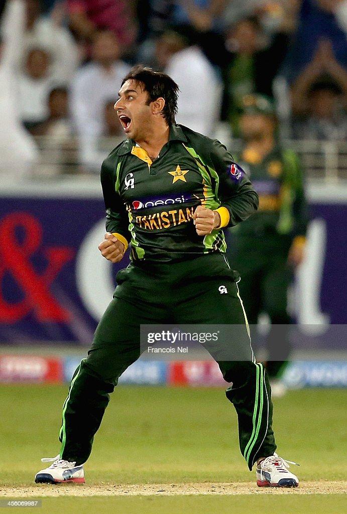 Saeed Ajmal of Pakistan celebrates during the second Twenty20 International match between Pakistan and Sri Lanka at Dubai Sports City Cricket Stadium on December 13, 2013 in Dubai, United Arab Emirates.