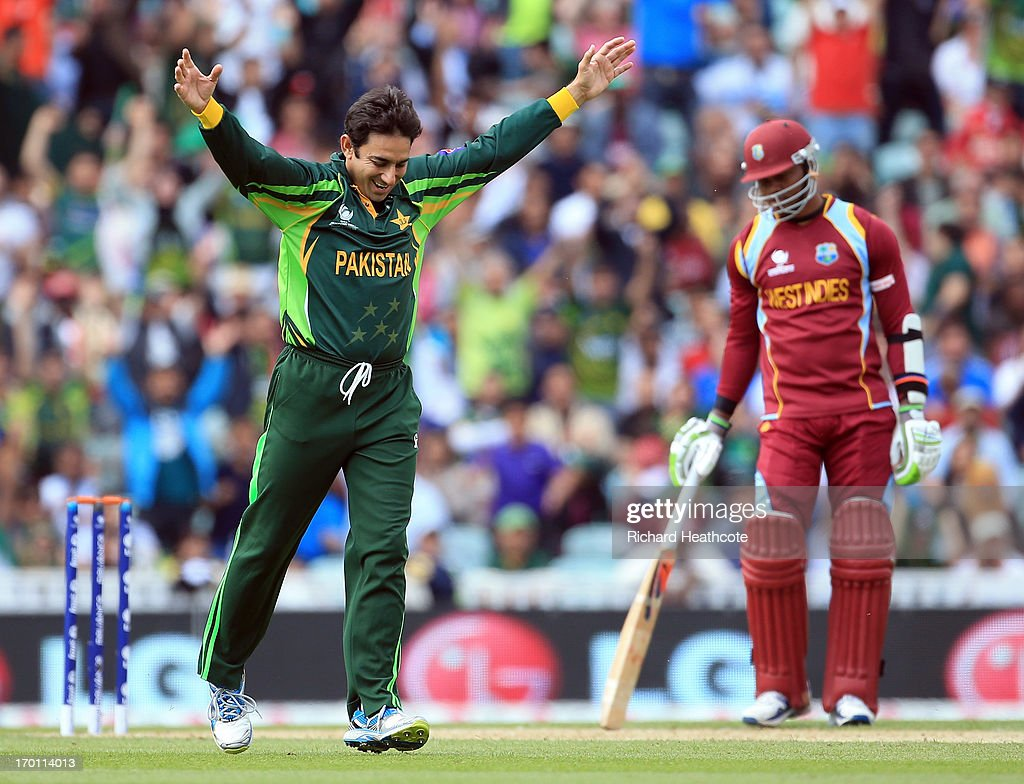 <a gi-track='captionPersonalityLinkClicked' href=/galleries/search?phrase=Saeed+Ajmal&family=editorial&specificpeople=2247219 ng-click='$event.stopPropagation()'>Saeed Ajmal</a> of Pakistan celebrates taking the wicket of Chris Gayle of West Indies during the ICC Champions Trophy group B match between West Indies and Pakistan at The Oval on June 7, 2013 in London, England.