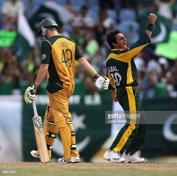 Saeed Ajmal of Pakistan celebrates the wicket of Steven Smith during the semi final of the ICC World Twenty20 between Australia and Pakistan at the...