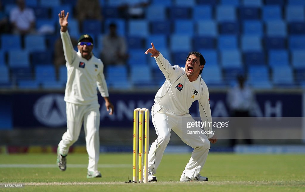 <a gi-track='captionPersonalityLinkClicked' href=/galleries/search?phrase=Saeed+Ajmal&family=editorial&specificpeople=2247219 ng-click='$event.stopPropagation()'>Saeed Ajmal</a> of Pakistan unsuccessfully appeals during the first Test match between Pakistan and England at The Dubai International Cricket Stadium on January 19, 2012 in Dubai, United Arab Emirates.