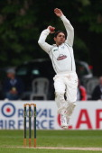 Saeed Ajmal of Worcestershire bowling during day three of the LV County Championship match between Worcestershire and Essex at New Road on May 20...