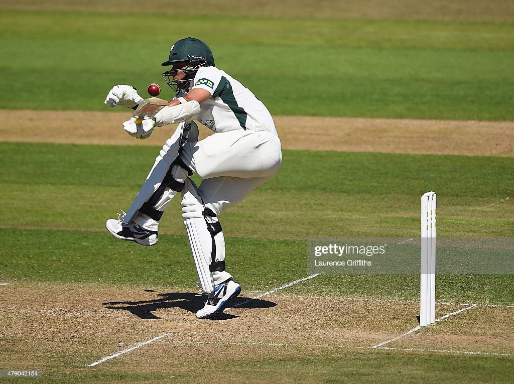 Saeed Ajmal of Worcestershire gets caught up in a short ball during day two of the LV County Championship match between Nottinghamshire and Worcestershire at Trent Bridge on June 30, 2015 in Nottingham, England.
