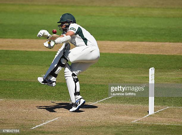 Saeed Ajmal of Worcestershire gets caught up in a short ball during day two of the LV County Championship match between Nottinghamshire and...