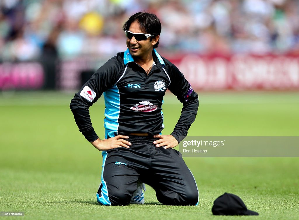 Saeed Ajmal of Worcestershire reacts during the Natwest T20 Blast match between Worcestershire Rapids and Lancashire Lightning at New Road on July 6...
