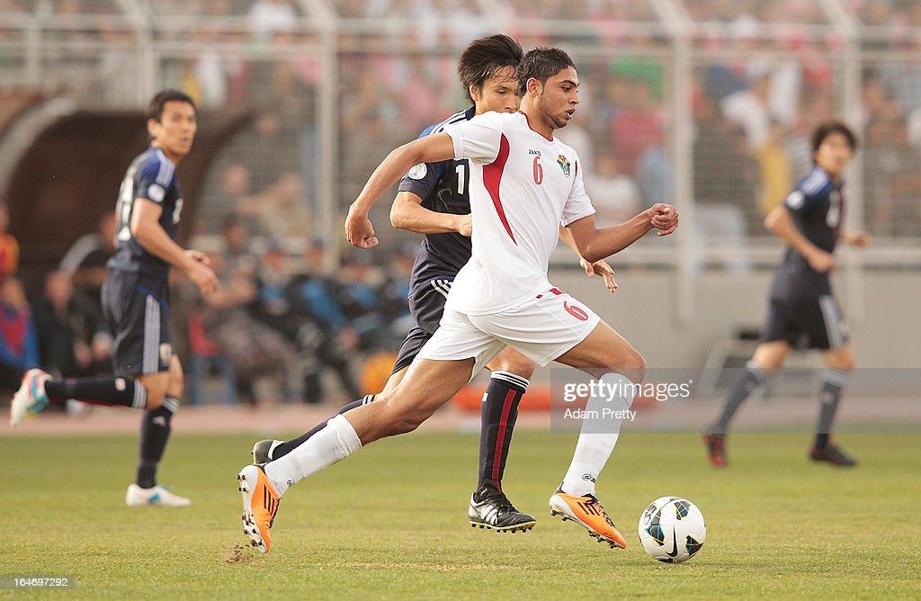 Saeed Al Murjan of Jordan in action during the FIFA World Cup Asian qualifier match between Jordan and Japan at King Abdullah International Stadium on March 26, 2013 in Amman, Jordan.