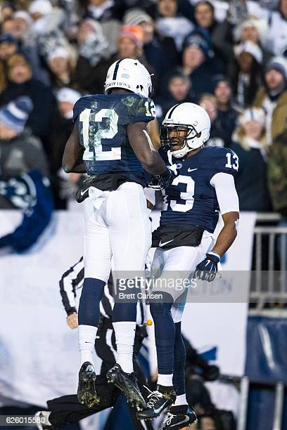 Saeed Blacknall congratulates Chris Godwin of the Penn State Nittany Lions after Godwin made a touchdown reception during the second half against the...