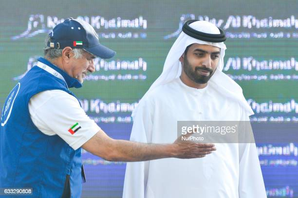Saeed Hareb the General Secretary of Dubai Sport Council with Sheikh Mohammed Bin Saud Bin Saqr Al Qasimi Crown Prince of Ras during the Awards...