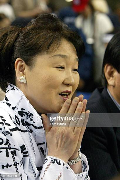 Saeko Matsui Mother of Hideki Matsui of the New York Yankees sits in the stands during Game 2 of the Opening SeriesThe New York Yankees defeat the...
