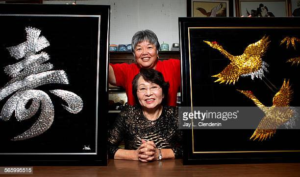 Saeko Oyama has owned her store 'Let's Knit Yarn Shop' in Gardena for nearly 39 years and makes 1000–crane pictures with Sharon Yonamine photographed...