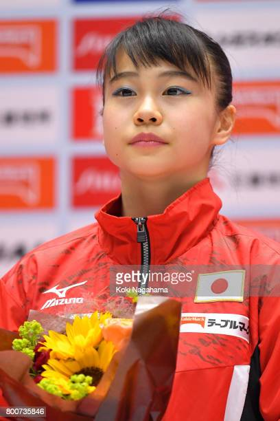 Saeko Sugiura looks on in the award ceremony during Japan National Gymnastics Apparatus Championships at the Takasaki Arena on June 25 2017 in...