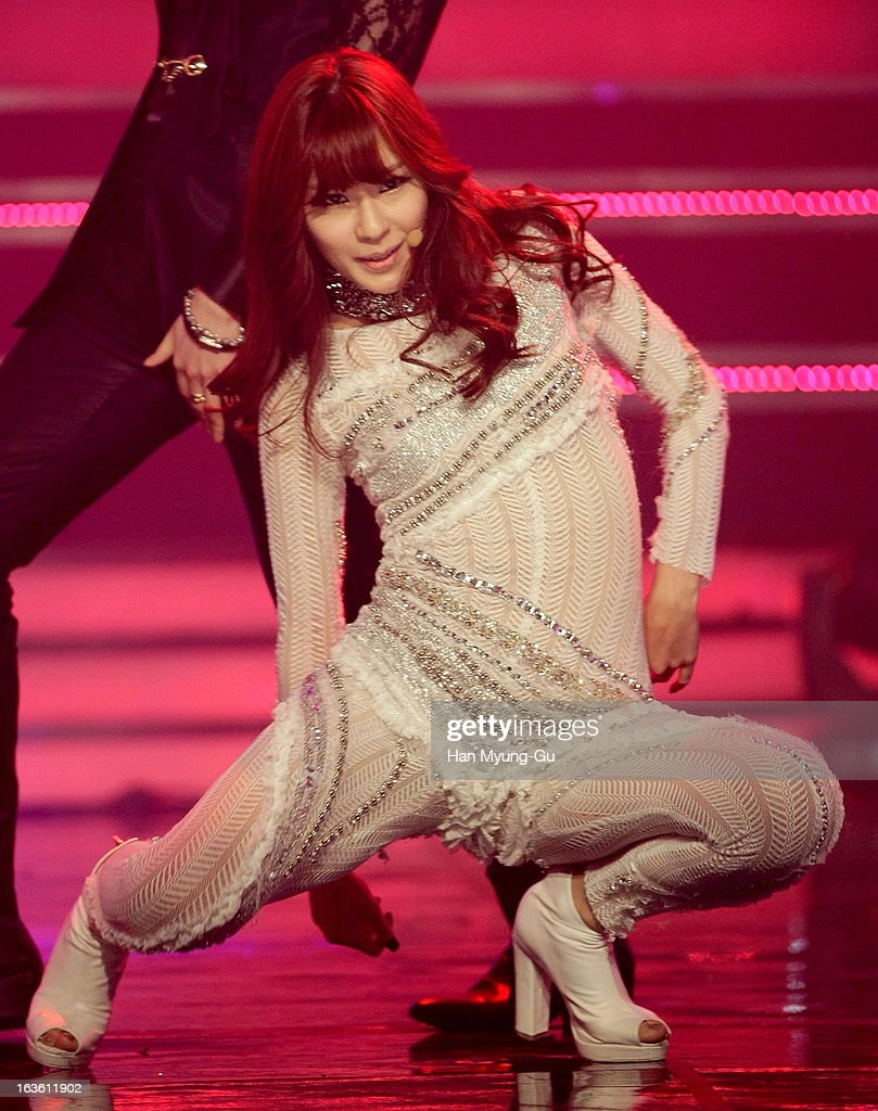 Saem of South Korean girl group Rania performs onstage during the MBC Music 'Show Champion' at Uniqlo-AX Hall on March 13, 2013 in Seoul, South Korea.