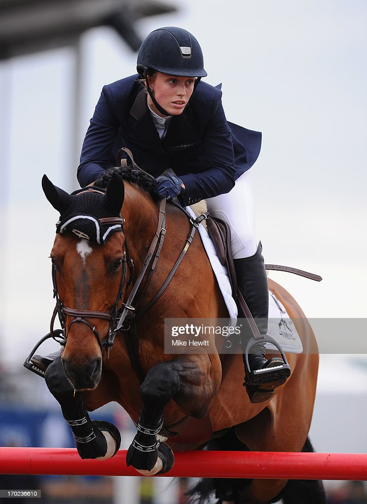 Saer Coulter of US on Springtime in action during the Longines Global Champions Tour of London on Day Four at Olympic Park on June 9, 2013 in London, England.