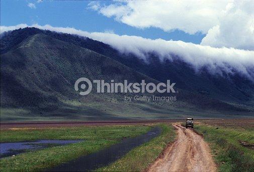 Safari Car In The Rough Track Inside Ngorongoro Crater Tanzania