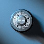 Safe combination lock on a vaulted door