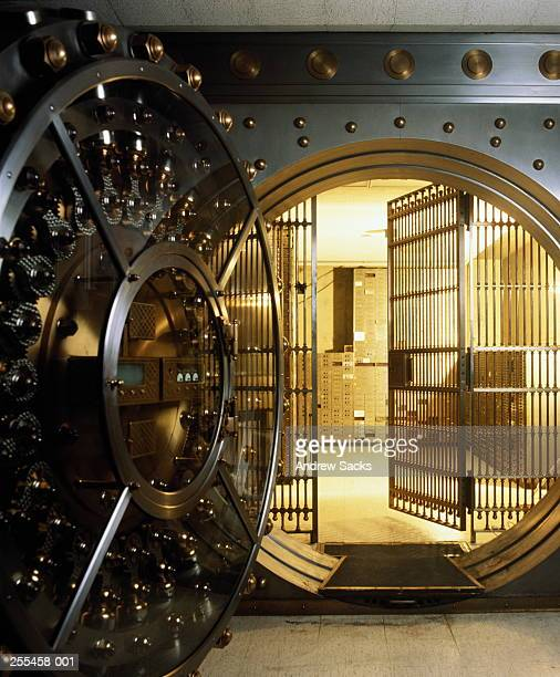 Safe deposit box vault in bank