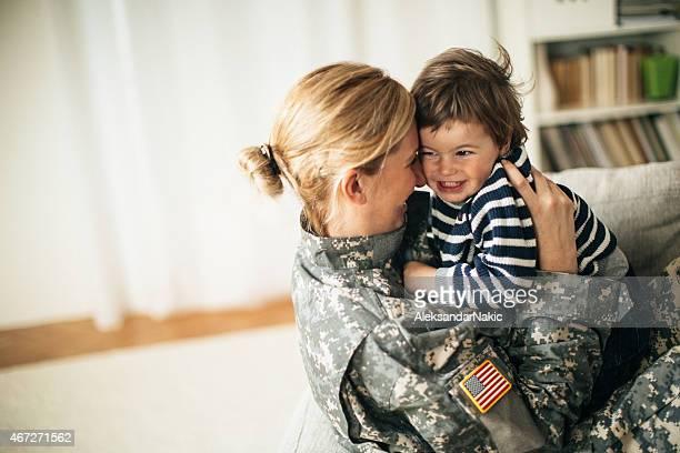 Safe in mommy soldier'hug