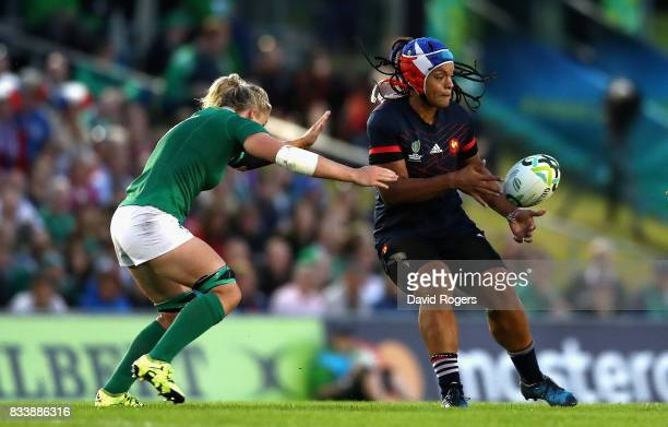 Safe N'Diaye of France passes the ball during the Women's Rugby World Cup Pool C match between France and Ireland at UCD Bowl on August 17 2017 in...