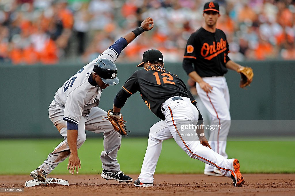 Safe on the play, Zoilo Almonte #45 of the New York Yankees stays on the bag after stealing second base and is tagged by second baseman Alexi Casilla #12 of the Baltimore Orioles in the second inning at Oriole Park at Camden Yards on June 28, 2013 in Baltimore, Maryland. The Baltimore Orioles won, 4-3.