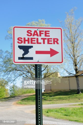 Safe shelter directional sign