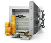 Safe with dollars and piles of coins. 3d rendering.