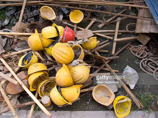 Safely helmets at construction site