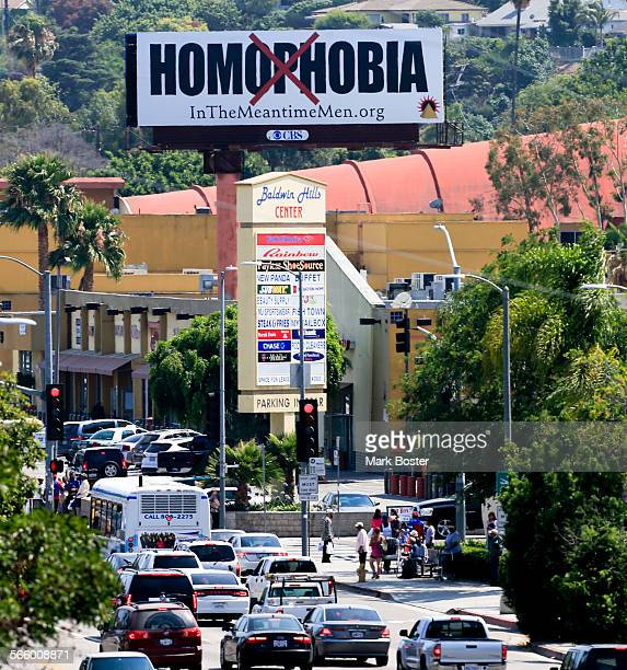 Safesex billboards in the South Los Angeles community of Baldwin Hills near Rodeo Road and S LaBrea showing two black men kissing have been replaced...