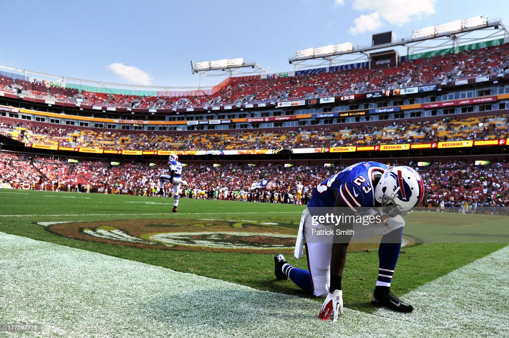 Safety Aaron Williams #23 of the Buffalo Bills has a moment to himself before playing the Washington Redskins during a preseason game at FedExField on August 24, 2013 in Landover, Maryland.