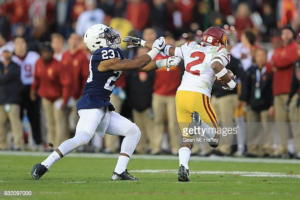 Safety Ayron Monroe of the Penn State Nittany Lions attempts to tackle defensive back Adoree' Jackson of the USC Trojans during the 2017 Rose Bowl...