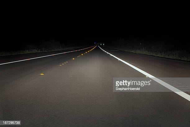 Safety concept: night drive on a fresh paved road