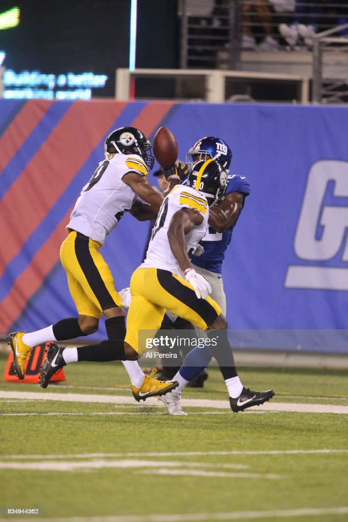 Safety Daimion Stafford #30 of the Pittsburgh Steelers breaks up a pass against the New York Giants during an NFL preseason game at MetLife Stadium on August 11, 2017 in East Rutherford, New Jersey. The Steelers defeated the Giants 20-12.
