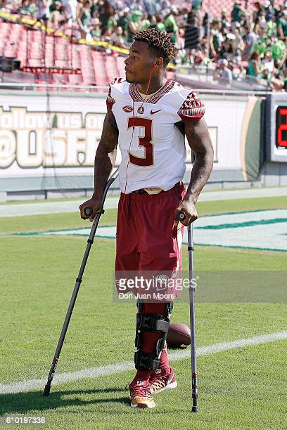 Safety Derwin James of the Florida State Seminoles cheer on his teammates on before the game against the South Florida Bulls at Raymond James Stadium...